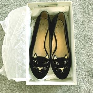 Charlotte Olympia Kitty Flats Black and Gold